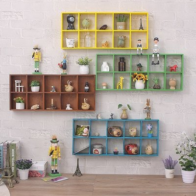 優良鋪子-木頭墻上置物架創意格子兒童房墻面裝飾實木掛架收納架子掛墻壁式(規格不同 價格不同)