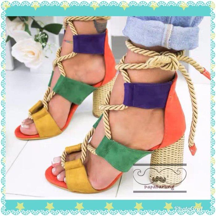 PapaDarling 19SS 歐美時尚潮流拼色高跟涼鞋