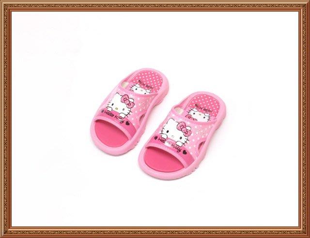 【819274】☆.╮莎拉公主❤超可愛~ Hello Kitty 凱蒂貓平底拖鞋/童鞋/兒童涼鞋/女童14~18cm