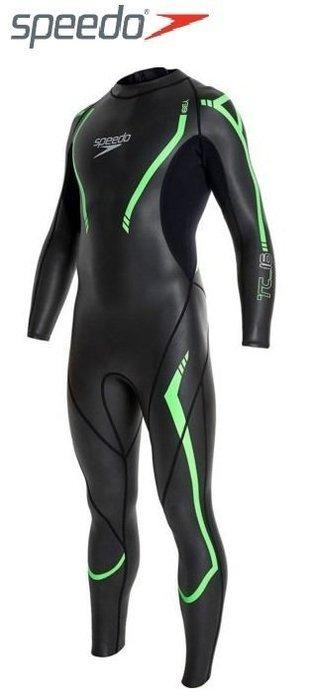 ~有氧小舖~Speedo長袖連身三鐵防寒衣 防曬衣 潛水衣開放性領域Comp 2mm 黑-綠 SPF50 現貨