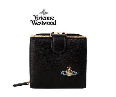 Vivienne Westwood ►(黑色×金色) 真皮 短夾 皮夾 錢包 |100%全新正品|特價!