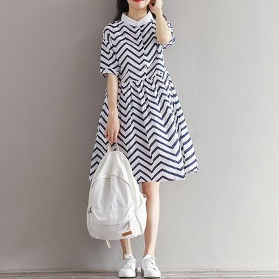 孕婦裝 夏季連身裙 中長款條紋棉麻襯衫 學院風洋裝—莎芭