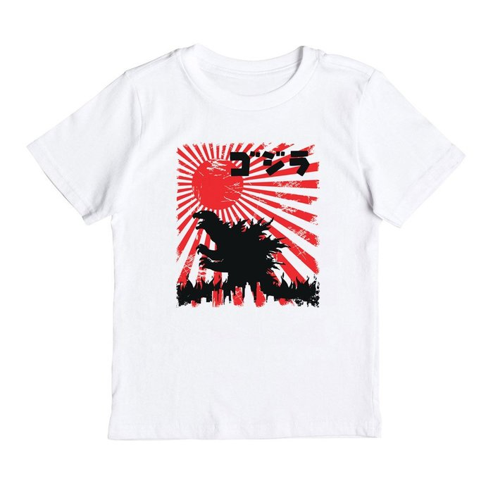 Godzilla Japane Flag 兒童短袖T恤 2色 哥吉拉Tokyo 日本 酷斯拉 波浪 恐龍 暴龍