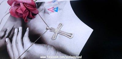 實物拍攝 超閃 925純銀6層包4cm潮十字架高炭鑽吊墜,配45cm S925純銀鍊一條
