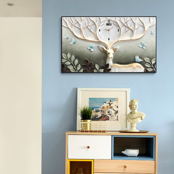 歐式電表箱裝飾畫配電箱遮擋壁畫客廳掛畫總開關電閘盒掛鐘表時鐘