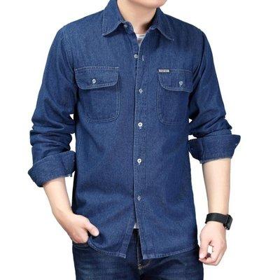 牛仔襯衫青年男士牛仔襯衫長袖加大碼棉質襯衣薄款工作服季純色男裝