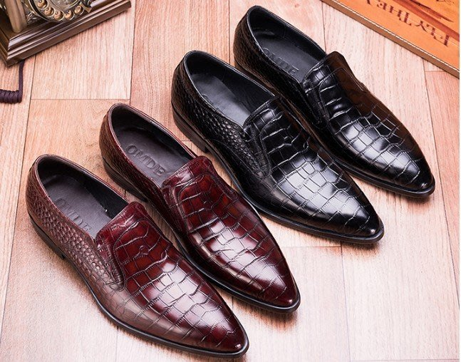 秋冬新品 頭等牛皮鱷魚紋英倫商務正裝皮鞋 套腳尖頭 男鞋