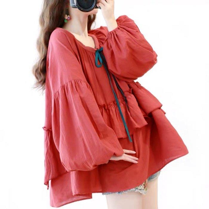 磚紅色 燈籠袖 中大尺碼 女 公主風 荷葉邊 襯衫 上衣 ~ 8172