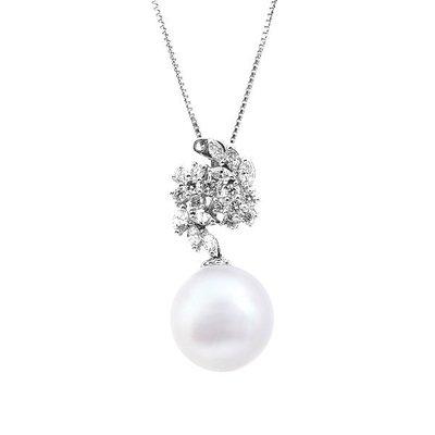 【JHT 金宏總珠寶/GIA鑽石專賣】14mm天然珍珠鑽墜/材質:14k(PP00045)
