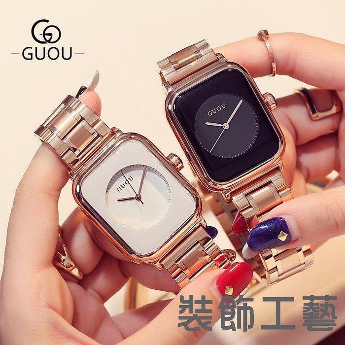 古歐鋼帶方形手錶女款方形糖果錶盤手錶女士氣質玫金鋼帶手錶女