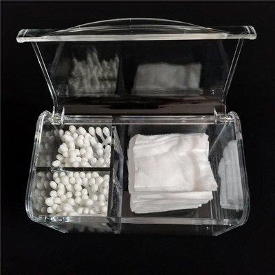 桌面防塵翻蓋化妝棉棉籤收納盒 卸妝棉梳妝台化妝品收納 整理透明 #0455