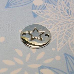琥珀貓~【925純銀材料配件】連結配件~A0055~星星銀牌~一個