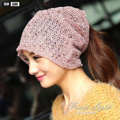 ☜男神閣☞頭巾帽夏天韓版女頭巾帽套頭包頭帽透氣化療帽時尚月子帽子薄款堆堆帽
