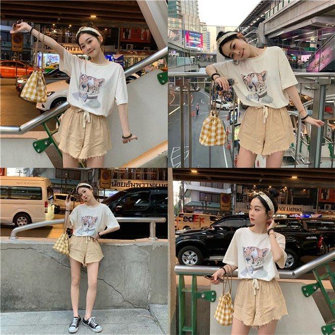 FINDSENSE G6 韓國時尚潮流 2019夏季新款圓領T恤簡約豹子頭印花短袖T恤女裝上衣TEE