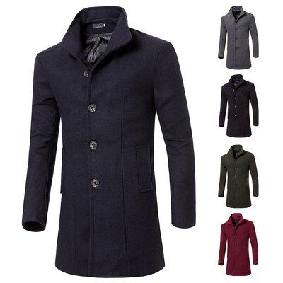 男西裝外套外貿男士時尚翻領中長款大衣男士單排扣毛呢風衣FY010風衣