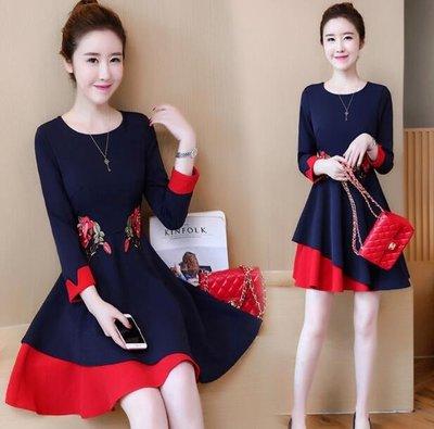 洋裝大碼女裝胖mm 新款韓版 顯瘦藏肉減齡刺繡連身裙 L~5XL—莎芭