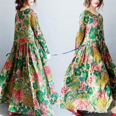 民族風洋裝 春裝新款時尚復古韓版大碼女裝大擺連身寬鬆長裙 FR5366NRF