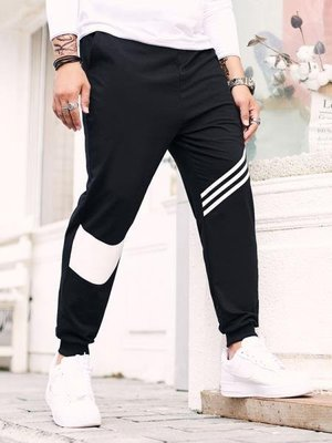 超大碼衣櫥 新款秋潮胖子斜條紋運動褲加肥加大碼人行道紋青少年小腳衛褲 foobbs