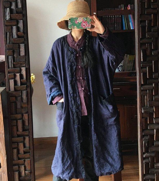 【子芸芳】原創中式盤扣對襟水洗純亞麻色織撞色大袍有內襯
