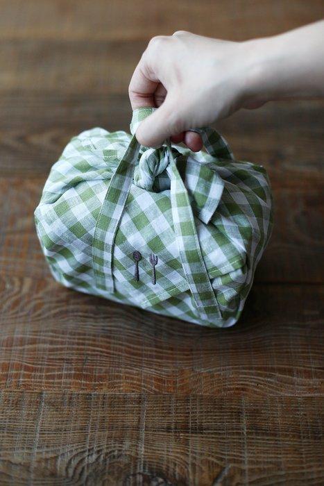 發現花園 日本選物- 日本 栗原 手提 便當包巾 ~黃格 / 綠格
