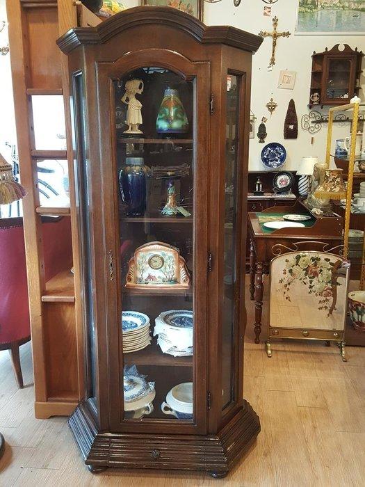【卡卡頌 歐洲跳蚤市場/歐洲古董】※清倉特價※法國老件_深胡桃木雕刻  玻璃展示櫃 收納櫃 收藏櫃  ca0059✬