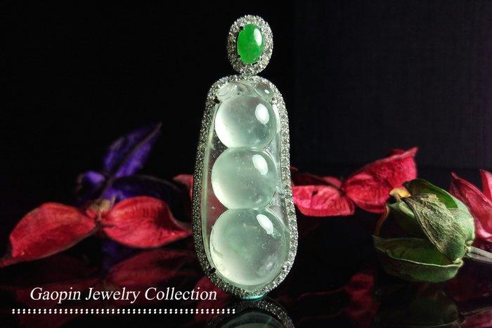 【高品珠寶】緬甸天然A貨翡翠 放光玻璃種《四季豆》18K金配鑲鑽石墜子♥精品現貨♥