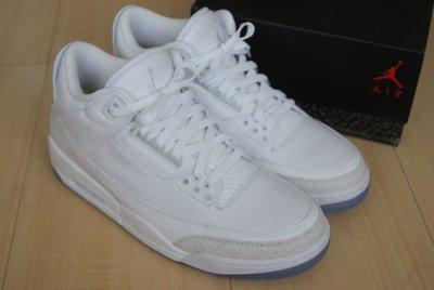 NIKE AIR JORDAN 3 RETRO Pure White 全白喬丹三代爆裂紋籃球鞋老屁股136064-111