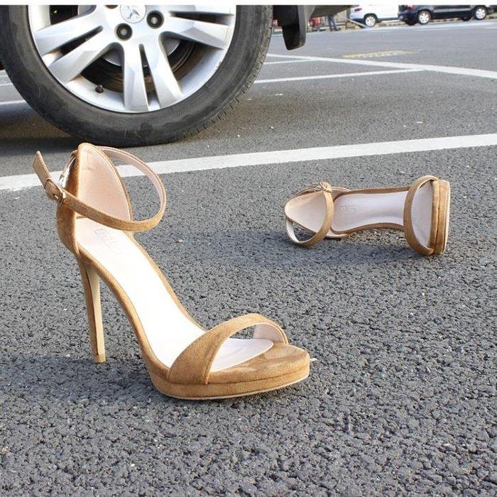 ☜男神閣☞新款夏季正韓性感一字扣女高跟涼鞋超高跟顯瘦露趾大碼細跟涼鞋女