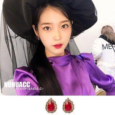 韓國飾品館&德魯納酒店iu同款張滿月李知恩耳釘復古紅色高級感顯白氣質耳環女