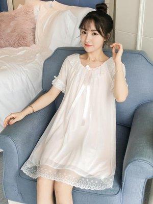 睡衣帶胸墊睡衣女夏吊帶純棉蕾絲網紗睡裙女夏季公主莫代爾寬鬆可外穿