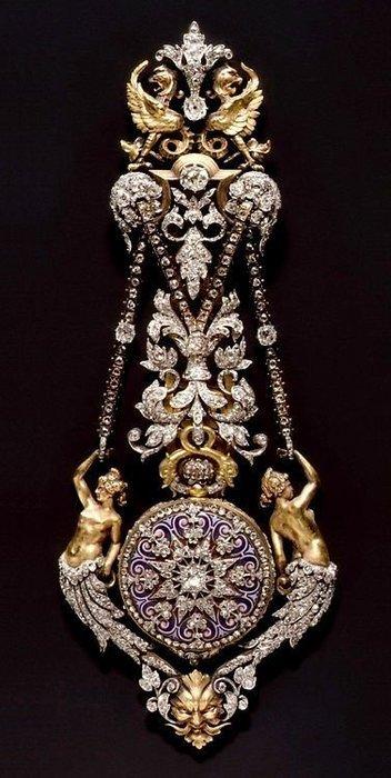 【家與收藏】頂級珍藏歐洲百年古董18世紀博物館級精緻華麗貴族宮廷手繪K金純銀寶石古董珠寶/懷錶2(陸續刊登中)