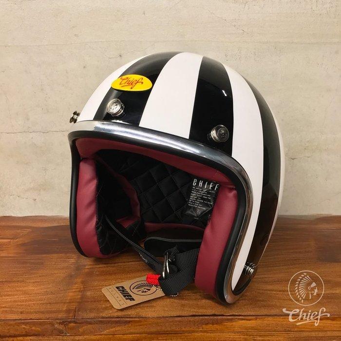 (I LOVE樂多)Chief Helmet 3/4 復古帽 旭日旗 (黑白配色)通過台灣CNS美國DOT合格認證