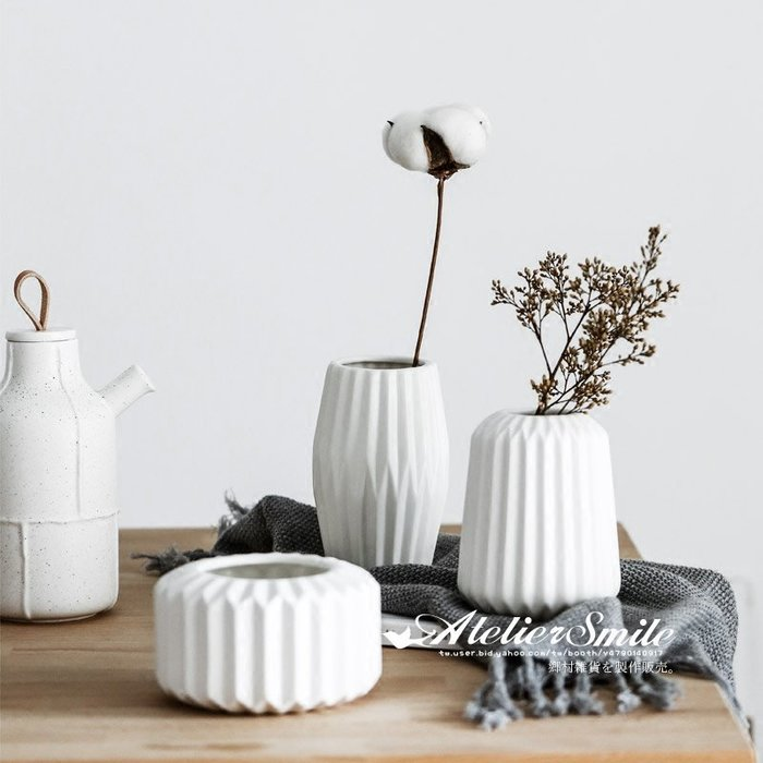 [ Atelier Smile ] 鄉村雜貨 北歐風 百褶 創意摺紙陶瓷花瓶 現代簡約花器 家居擺飾 #中款 (現+預)