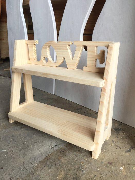 【鄉村玫瑰】LOVE木胚置物架.雙層架.DIY材料包