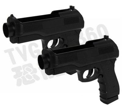 【二手商品】任天堂 Wii WiiU 黑色  副廠 短槍套件 槍架 兩支【台中恐龍電玩】