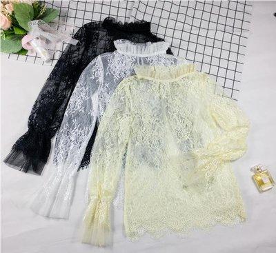 集美屋正韓女裝~~喇叭袖蕾絲衫上衣透視罩衫木耳邊鏤空立領打底衫內搭甜美小衫