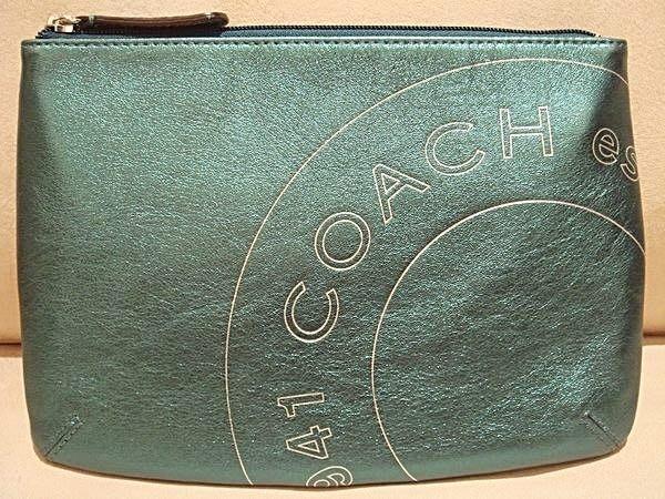 破盤清倉大降價!全新美國品牌COACH銀綠色皮革手拿包收納包,情人節生日最佳送禮!低價起標無底價!本商品免運費!