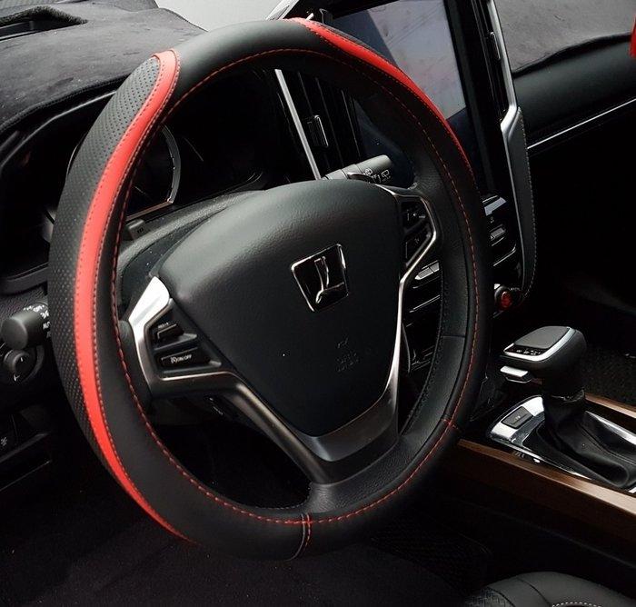LUXGEN納智捷【U6運動方向盤皮套】U6 TURBO專用直套式轉向盤套 紅色車縫線 藍色 汽車內裝飾 白色真皮保護套