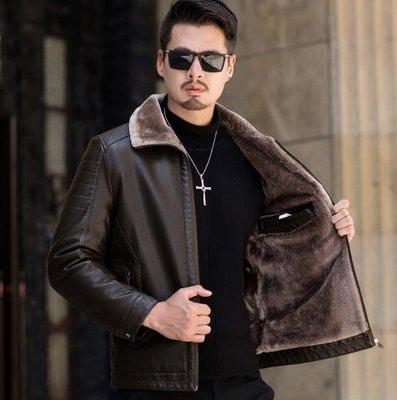 真皮外套 新款男裝休閑中年男士真皮皮衣夾克皮毛壹體綿羊皮外套