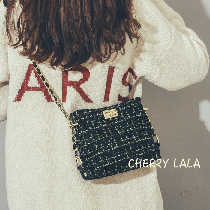 CHERRY LALA 韓。實拍。 18冬。網紅小包百搭單肩女包chic時尚鏈條斜挎包-黑/白/紅  JB02