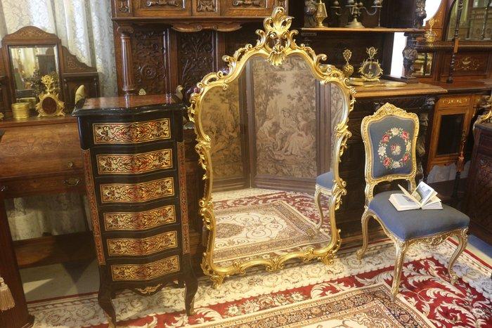 【家與收藏】特價極品稀有珍藏歐洲古董法國凡爾賽華麗洛可可手工木雕花金箔玄關大立鏡/掛鏡
