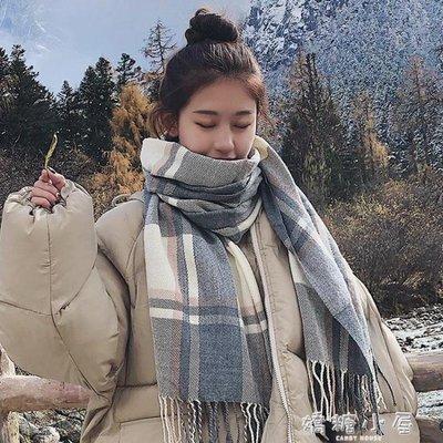 格子圍巾女秋冬季韓版百搭男學生可愛軟妹加厚ins少女士圣誕圍脖