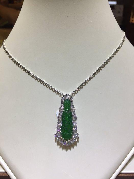 天然A貨冰種翡翠觀音鑽石項鍊,超綠超透顏色均勻,加送14K金項鍊,高等級1.15克拉豪華配鑽設計,加送鑑定書