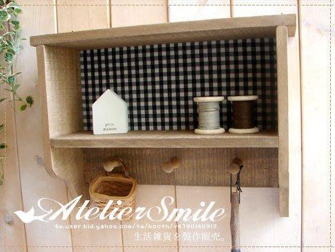 [ Atelier Smile ] 鄉村雜貨 原木格子襯布壁掛展示櫃 收納置物盒 壁掛櫃 收納櫃 (現+預)