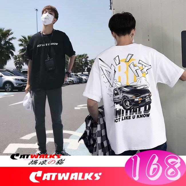 【 Catwalk's 搖滾の貓 】韓版手繪風頭文字86印花寬鬆舒適棉T ( 黑色、白色 )