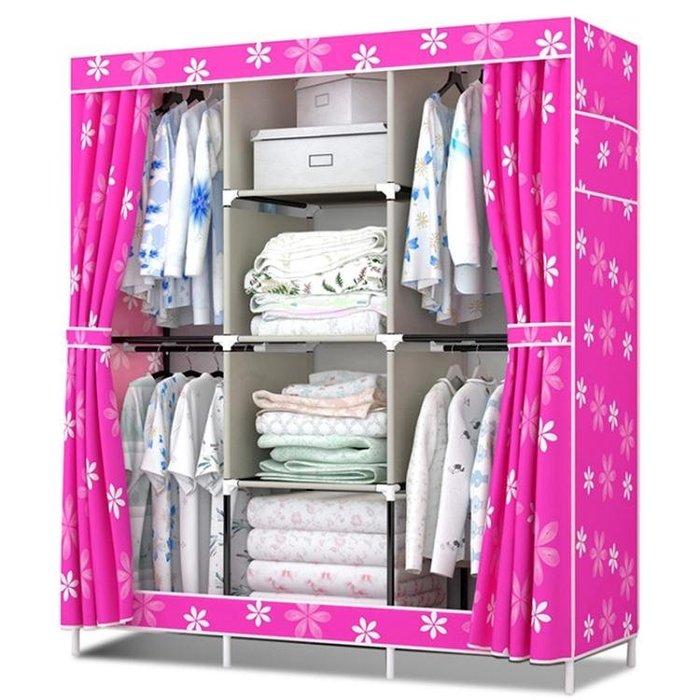 衣櫃簡易布衣櫃衣櫥組合布藝牛津布加固摺疊鋼架雙人大號 【橘子醬生活館】