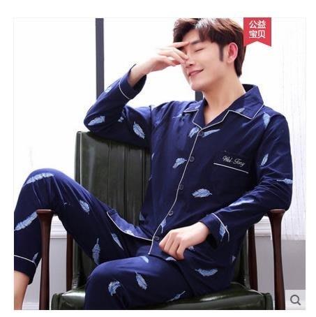 男士睡衣純棉長袖青年學生休閒套裝睡衣男薄款家居服