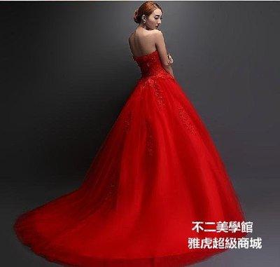 【格倫雅】^婚紗禮服紅色長款拖尾敬酒服晚禮服結婚新娘秋冬款女 結婚29797[g-l-y38