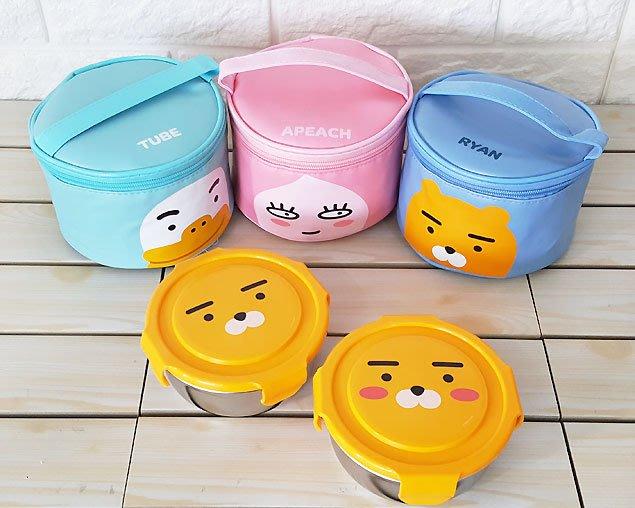 ♀高麗妹♀韓國 KAKAO FRIENDS RYAN與TUBE304不鏽鋼/防漏樂扣蓋 圓形餐盒2入附手提包(預購)