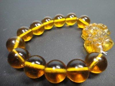 【競標網】天然漂亮火山黃琉璃貔貅手珠14mm(天天超低價起標、價高得標、限量一件、標到賺到)